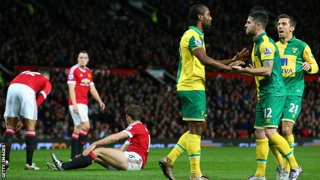 Norwich players celebrate an unlikely win at Old Trafford