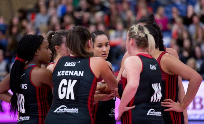 Team Northumbria in action in the Vitality Netball Superleague