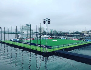 floating pitch at UEFA champions league final kitted out with FORZA goals & Net World Sports equipment