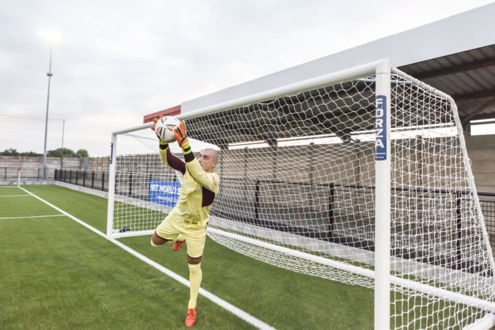 Cirencester Town goalkeeper catches ball in FORZA Alu110 goals